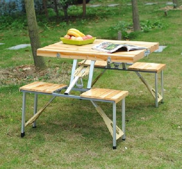 Wooden foldable suitcase picnic table
