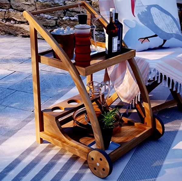 Wooden tea cart