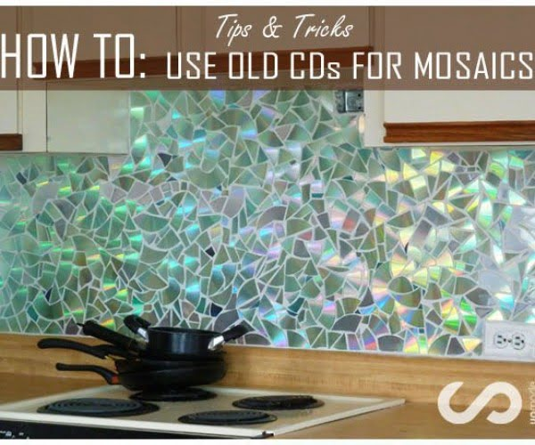 Old CD Mosaic  Backsplash