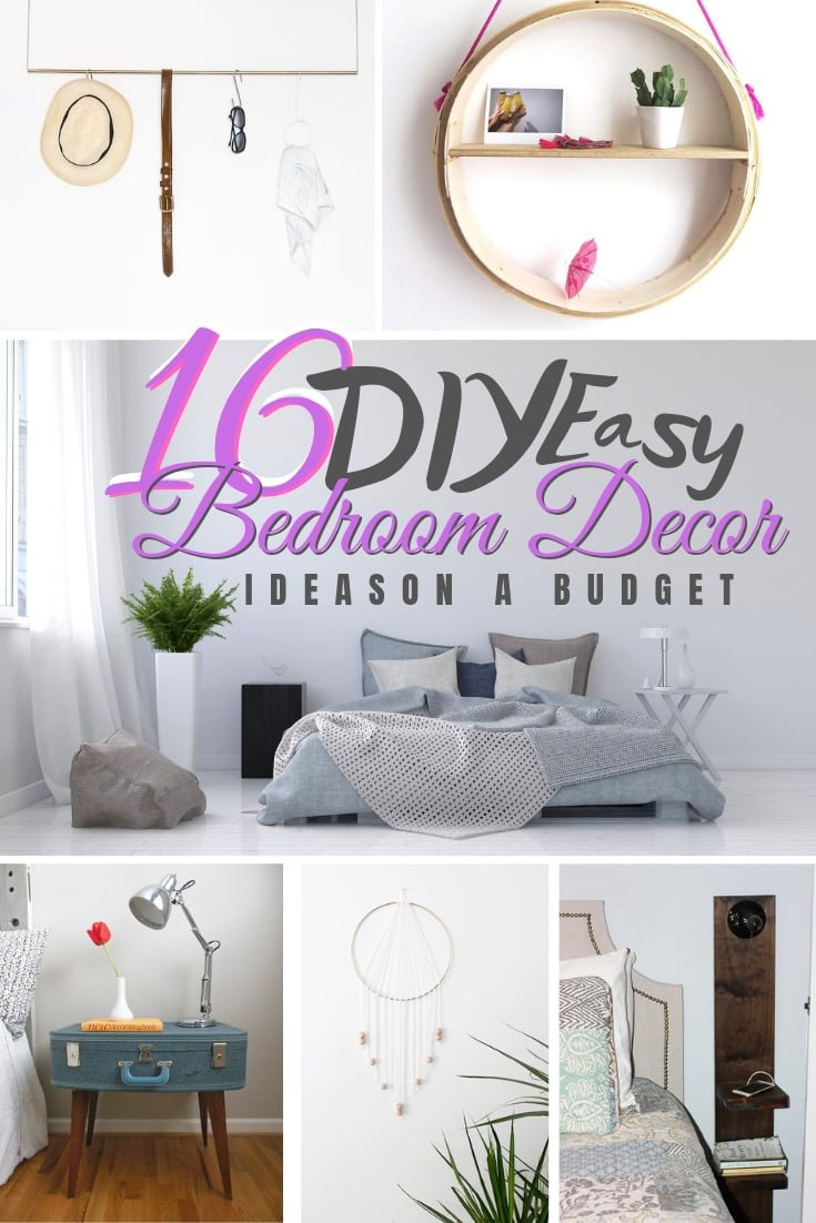About to redecorate your bedroom. MAke sure you see these 16 DIY bedroom decor ideas on a budget first! #DIY #homedecor #bedroomdecor