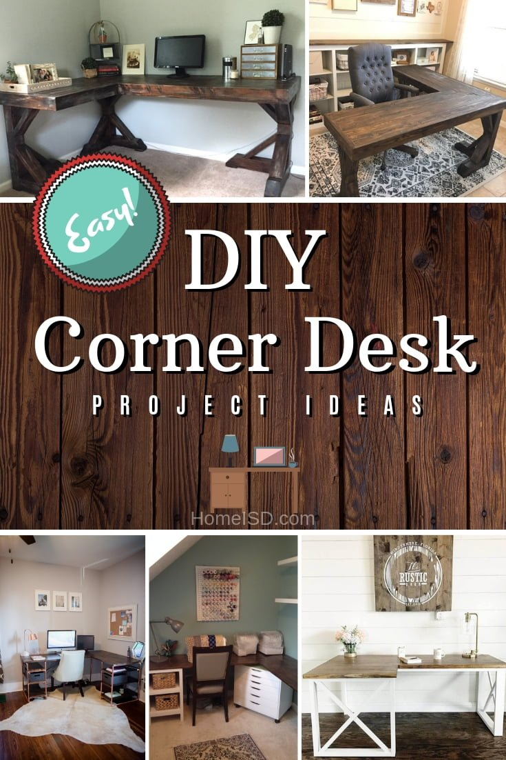 Build a DIY corner desk. Here are some brilliant easy project ideas with plans and tutorials. Great list! #DIY #homedecor #furniture