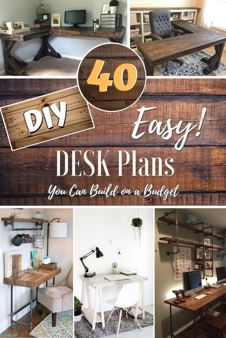 Yes, you can build a desk yourself. All you need is the right plans. Here are 40 DIY desk design ideas with plans that you can build on a budget! #DIY #homedecor #furniture