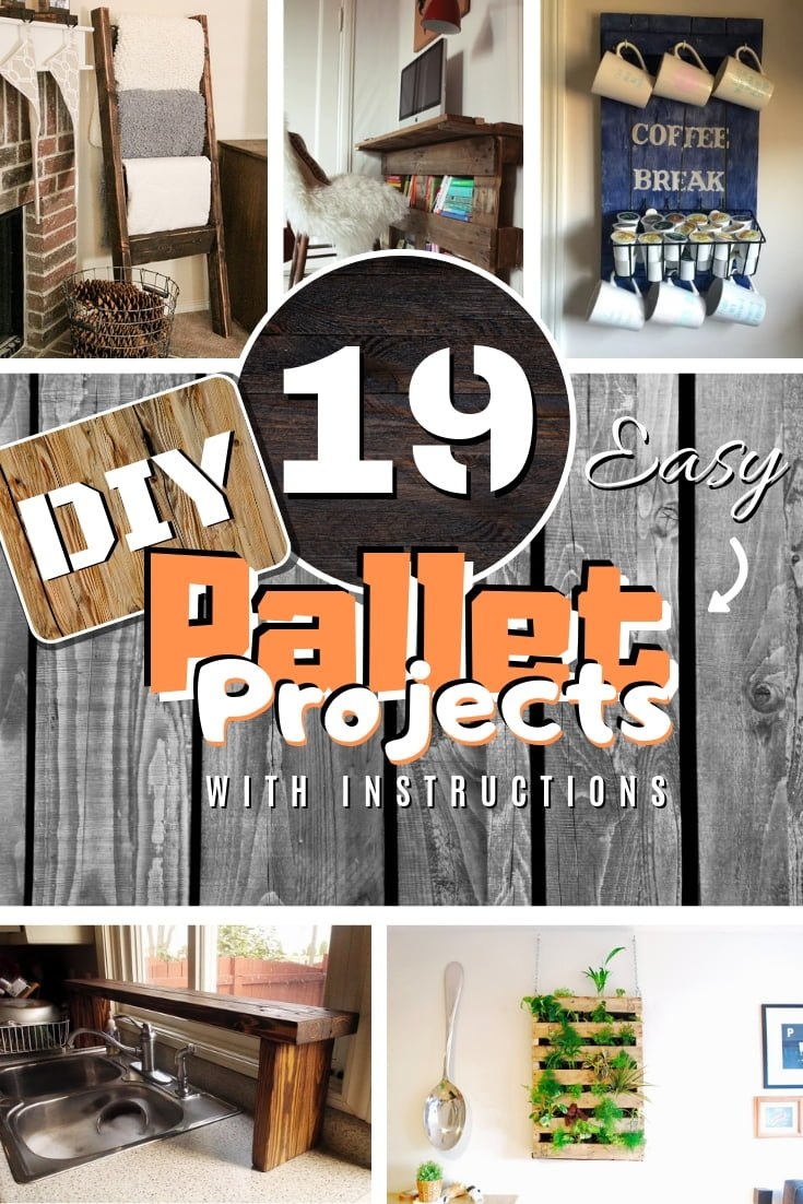 Building something from pallet wood is one of the easiest woodworking ways. Here are 19 amazing pallet project ideas with instructions to choose from. Great list to save! #DIY #homedecor