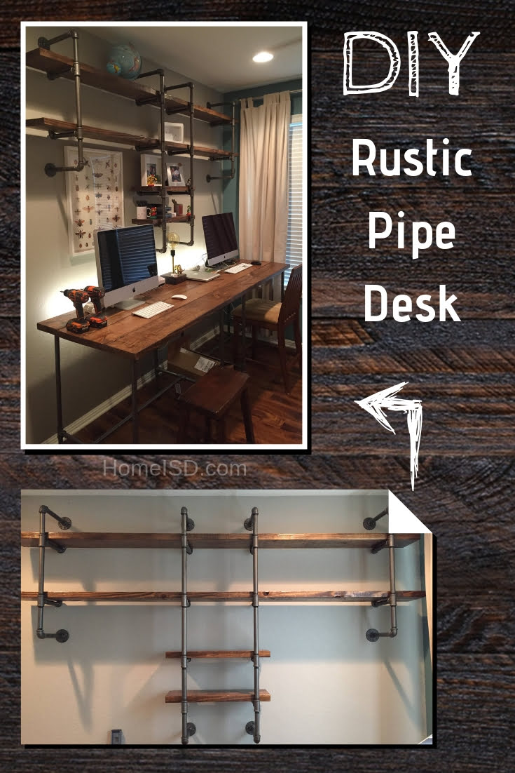 DIY Pipe & Wood Office Desk - a great project idea. Check out other DIY desk ideas too! #homedecor #DIY