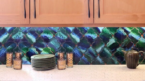 Finger Painted Tile  Kitchen Backsplash