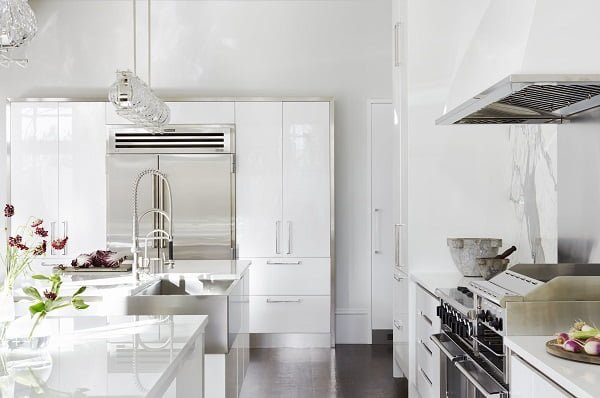 Glossy White Kitchen Cabinets #kitchendesign