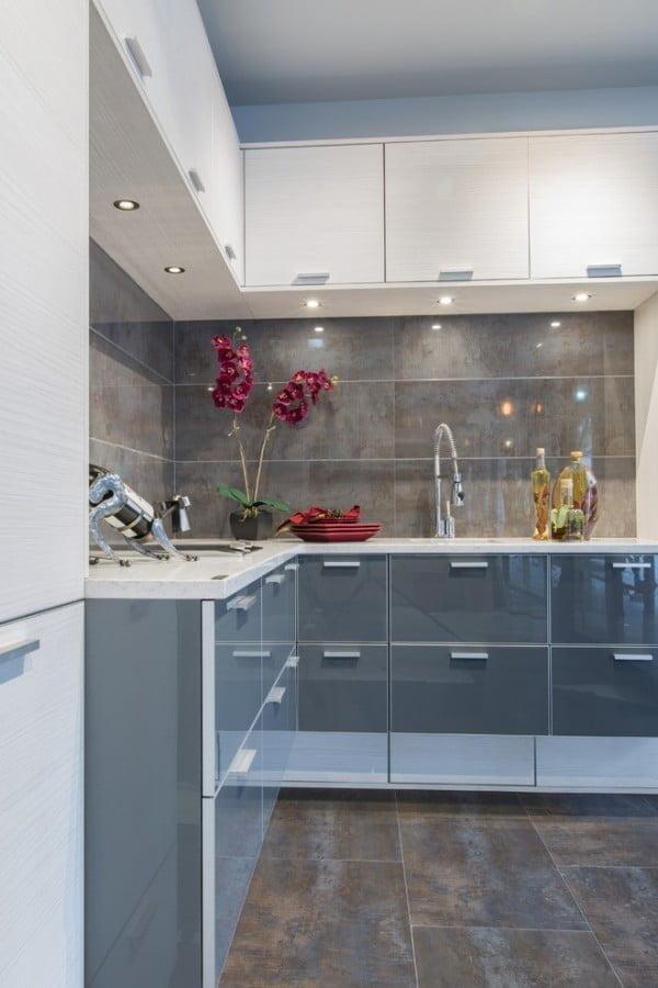 Glossy Grey Kitchen Cabinets #kitchendesign