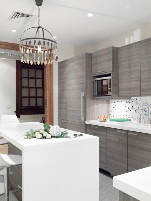 Wooden Panel Grey Kitchen Cabinets #kitchendesign