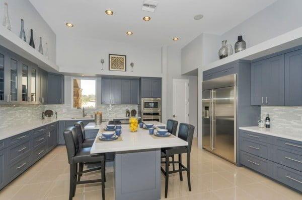 Grey Cabinets in a White Kitchen Design #kitchendesign