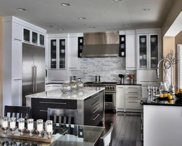 Light Grey Kitchen Cabinets in Open Plan Design
