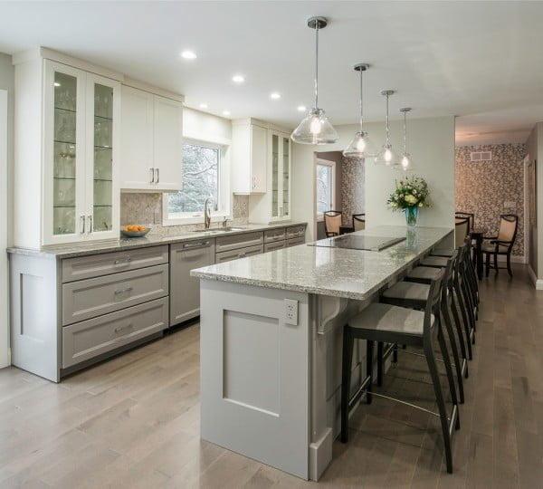 Grey Kitchen Cabinets with Dark Countertops #kitchendesign