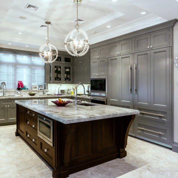 Floor to Ceiling Grey Kitchen Cabinets