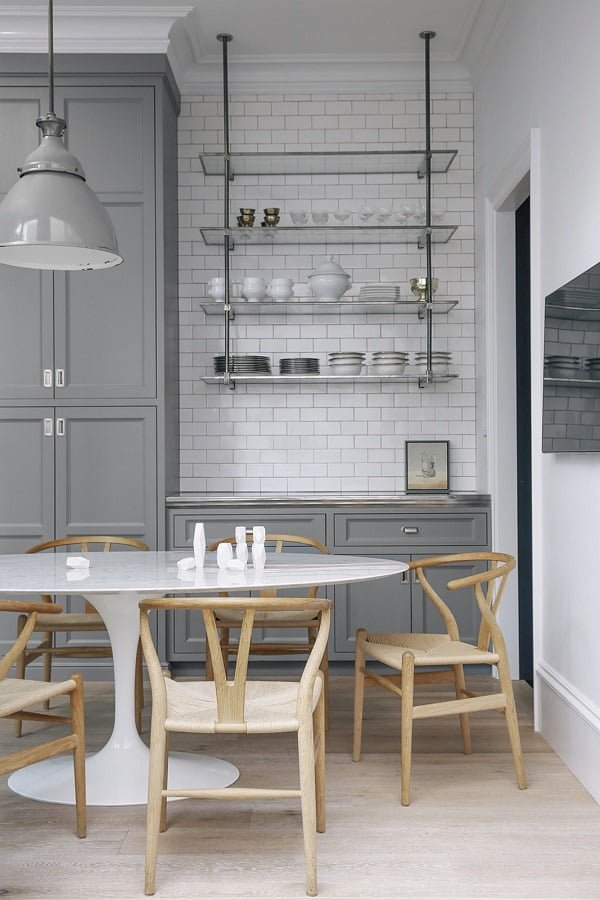 Grey Kitchen Cabinets with Subway Tile in Industrial Design