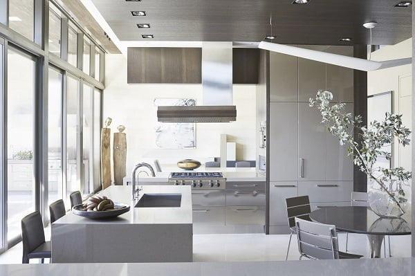 Grey Metallic Kitchen Cabinets #kitchendesign