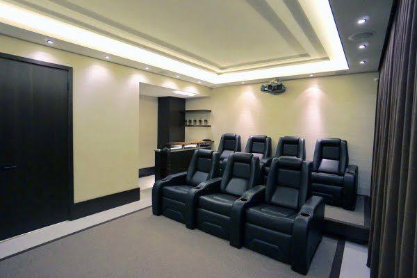 Home Theater with Modern Recliners