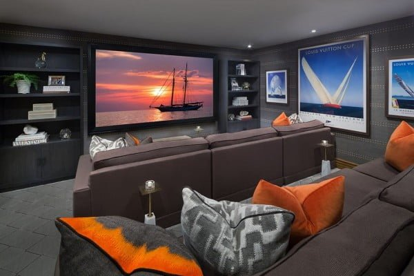 Cozy Modern Home Theater Design