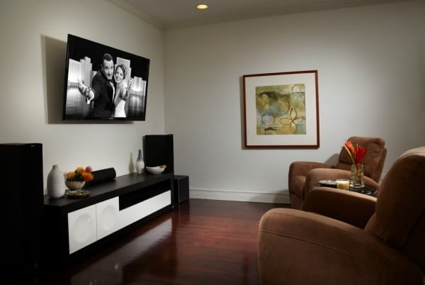 Black with Brown Home Theater Design