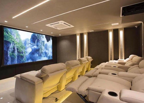 Modern Beige Home Theater Design