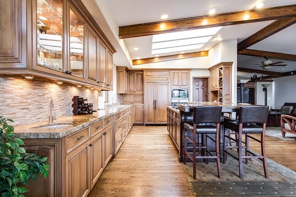 Recessed Kitchen Lighting with Ceiling Beams