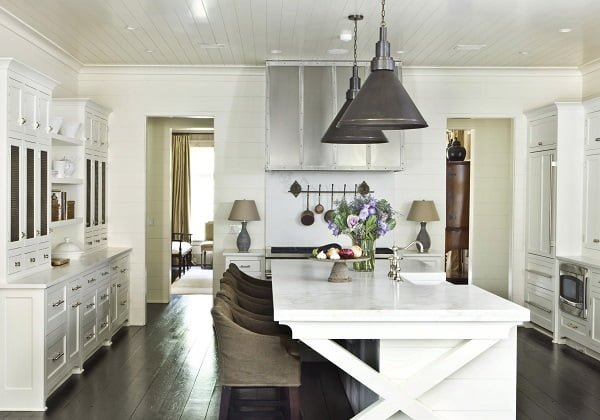 White Kitchen Cabinets with Dark Floors #kitchendesign