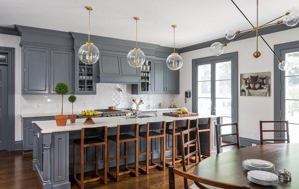 Modern Classic Kitchen Grey Cabinets #kitchendesign