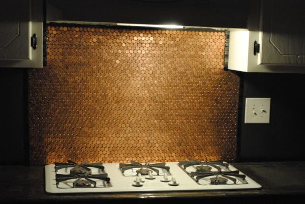 Backsplash from Pennies