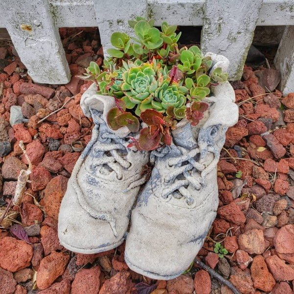 Old Shoes Concrete Succulent Garden Planter