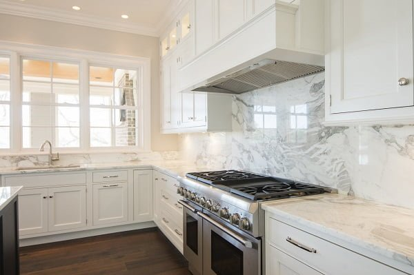 White Kitchen Cabinets with Chrome Hardware #kitchendesign
