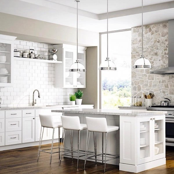 White Kitchen Cabinets with Granite Countertops and Subway Tile Backsplash #kitchendesign