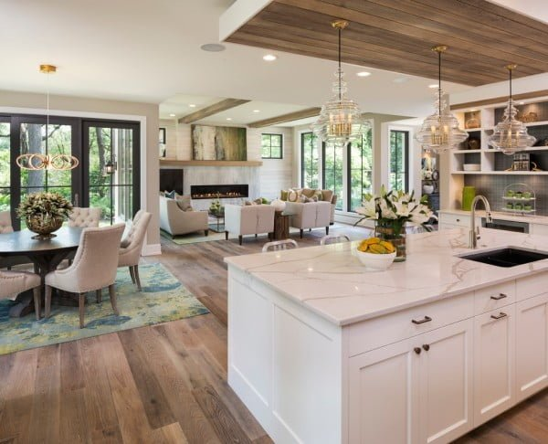 White Shaker Cabinets with Hardwood Floor #kitchendesign