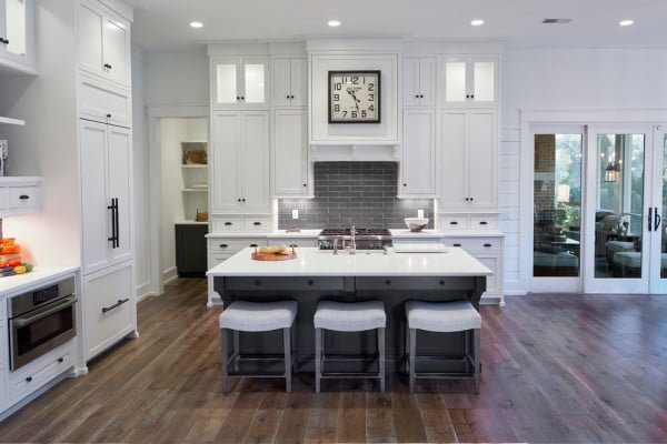 White Shaker Cabinets with Black Hardware #kitchendesign