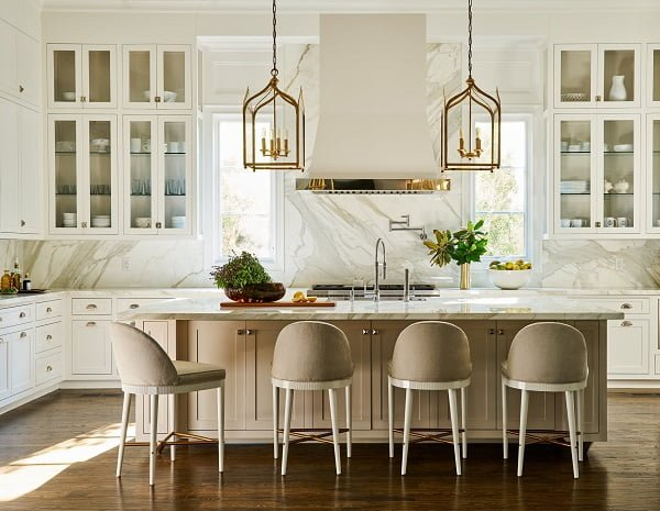 White Kitchen Cabinets with Marble Countertops and Walls #kitchendesign
