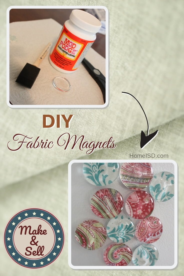 DIY fabric magnets - a great project to make and sell. Check out the other great projects too!