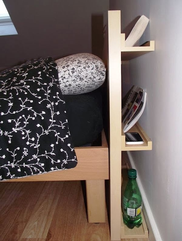 DIY Headboard includes shelves