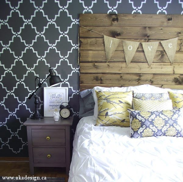 Rustic Reclaimed Wood Look Headboard #homedecor #DIY