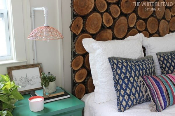 Wood Round Headboard #DIY #homedecor