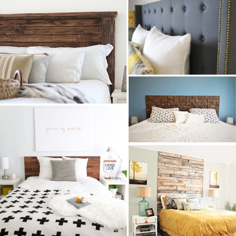 coastal decor achieved with wood plank headboard. Love this!