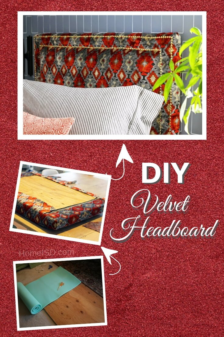 DIY Upholstered Velvet Headboard with Nailhead Trim - great project idea! Check out other easy DIY headboard ideas and tutorials too! #DIY #homedecor #bedroomdecor