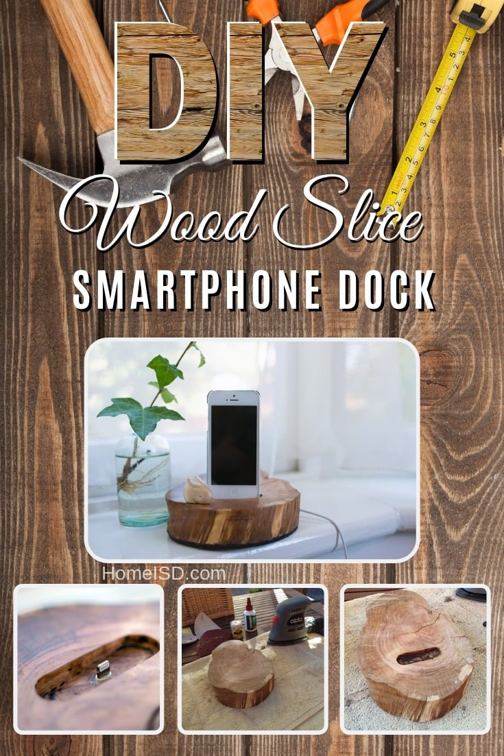 Make a DIY wood slice smartphone dock to sell
