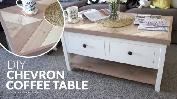 DIY Chevron Top Coffee Table // With or Without Drawers #DIY #homedecor #furniture