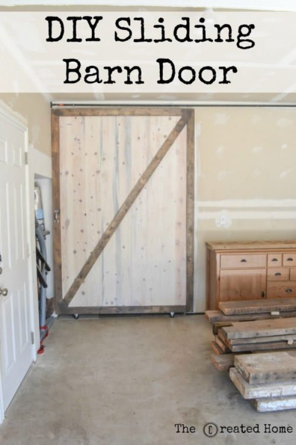 DIY Sliding Barn Door and hardware - The Created Home