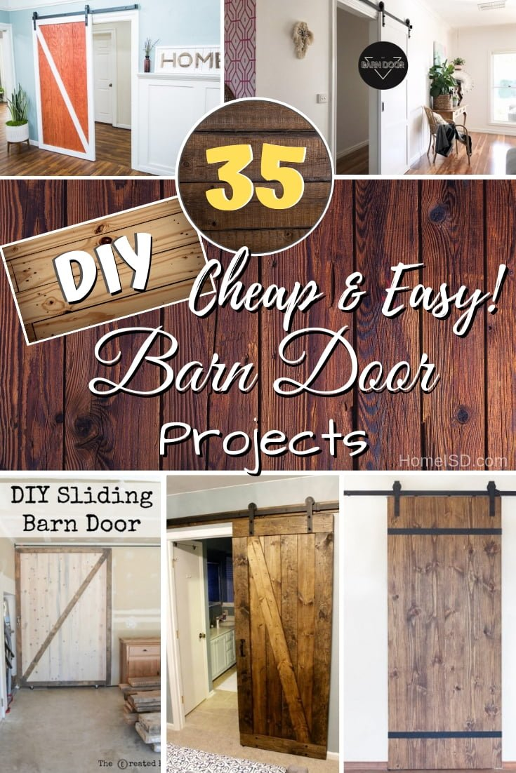 Make and install a DIY barn door as a rustic farmhouse accent. Choose from one of these easy 35 tutorials. Great list! #DIY #rustic #homedecor #farmhouse