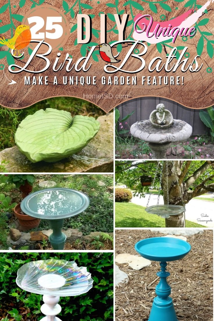 Make a unique feature for your garden and invite feathered birds by creating a DIY birth bath. Choose from these 25 great ideas with tutorials! #DIY #garden #backyard