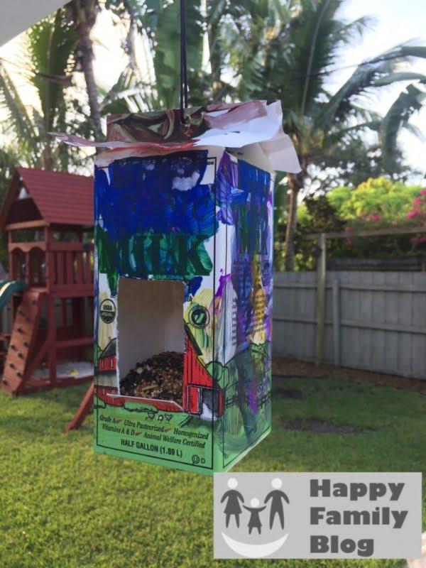 Milk Carton DIY Bird Feeder• Happy Family Blog
