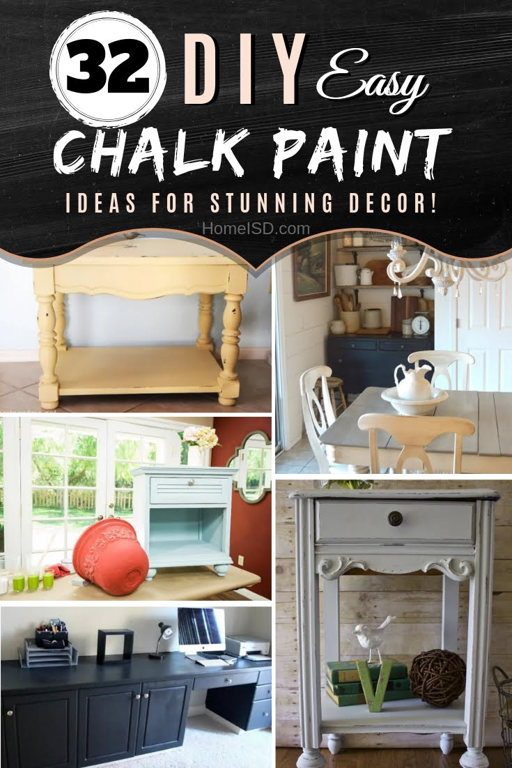 Use chalk paint to create stunning farmhouse and rustic home decor. Here are 34 project ideas to choose from. Great list! #DIY #homedecor #rustic #farmhouse