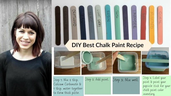DIY Best Chalk Paint Recipe Tutorial- budget saving-homemade-calcium carbonate #DIY #homedecor #chalkpaint #makeover