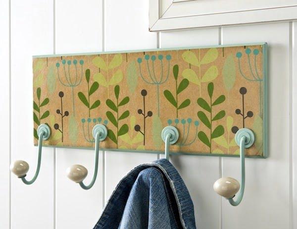 Floral Wrapping Paper DIY Coat Rack #DIY #homedecor #organization