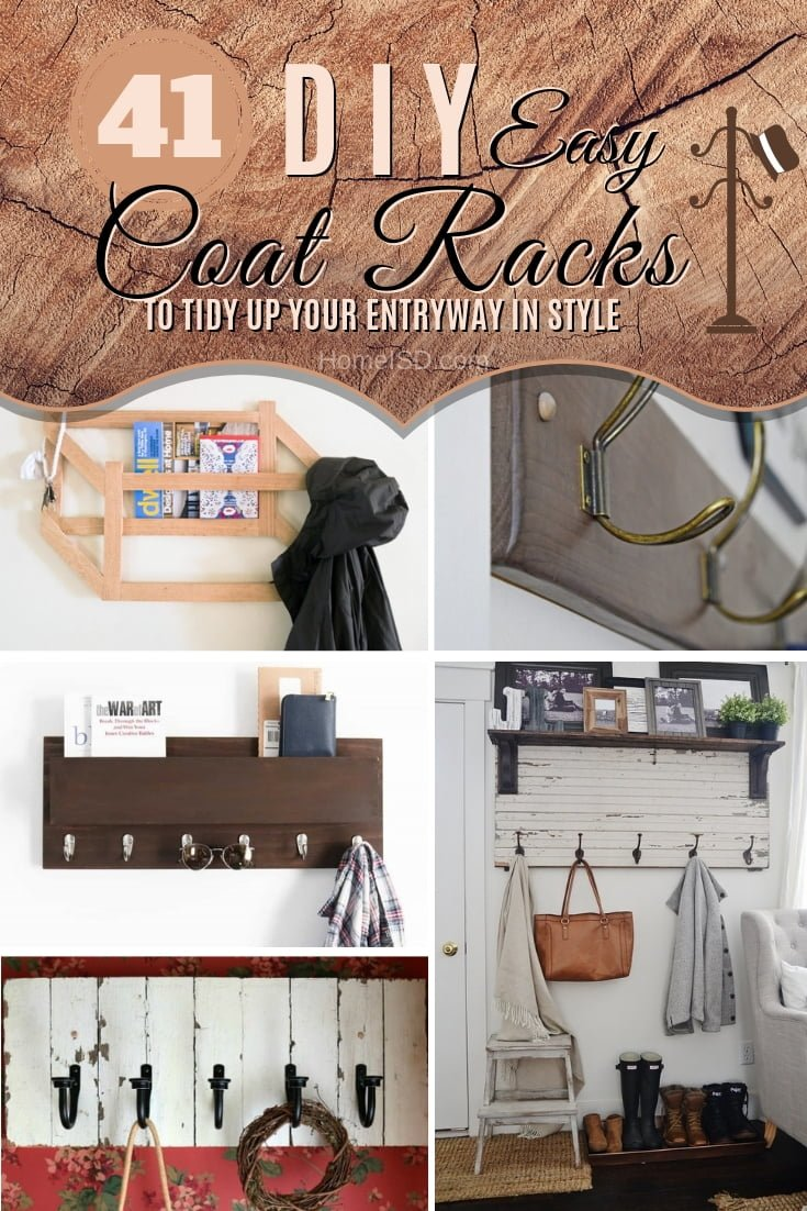 Tidy up your entryway with these 41 easy and creative DIY coat rack ideas. What a great list! #DIY #homedecor #organize