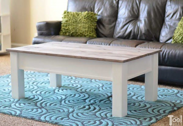 Farmhouse Coffee Table with Hidden Storage - Her Tool Belt #DIY #homedecor #storage