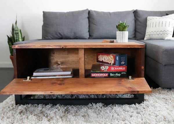 DIY Coffee Table With Hidden Storage - DIY Huntress #DIY #homedecor #storage